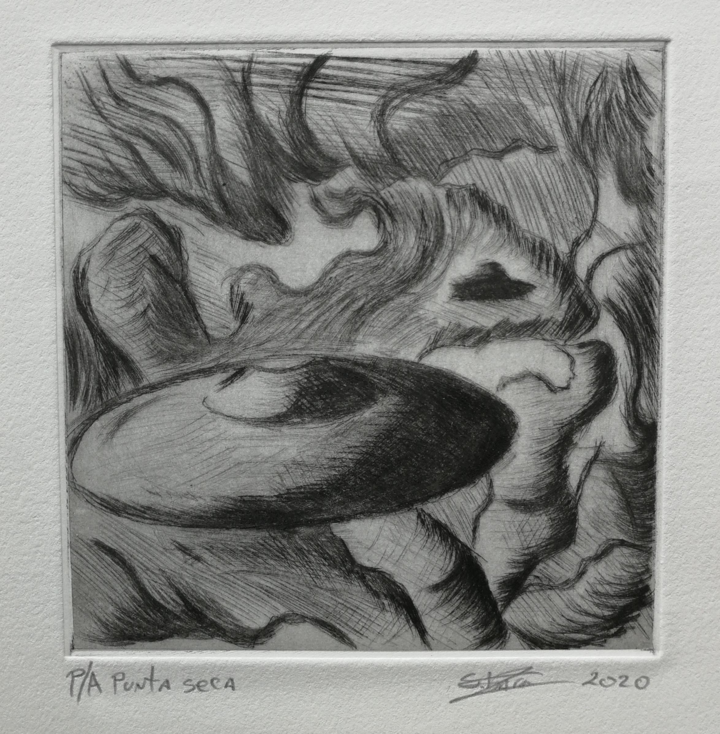 Grabado en metal punta seca por Sebastian Barra (10x10 cms)